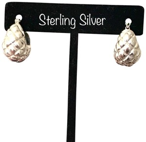 OTC Sterling Silver Quilted Puffy Shrimp Hoop Earrings