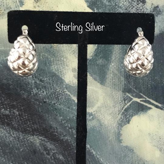 OTC Sterling Silver Quilted Puffy Shrimp Hoop Earrings Image 5