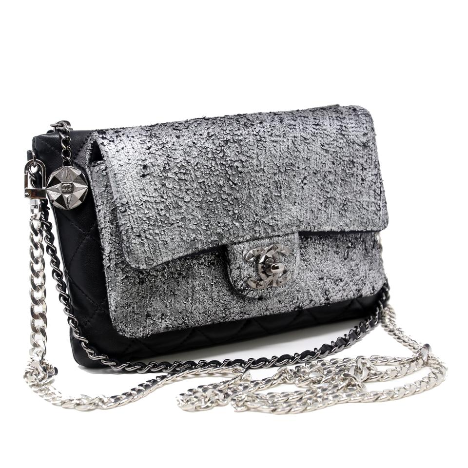 52153deb5f61 Chanel 2.55 Reissue Wallet on Chain Mineral Nights Quilted Flap Silver Metallic  Lambskin Leather Cross Body Bag