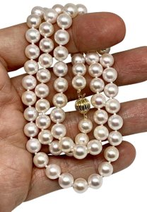 Estate Certified 3950 Ladys Akoya Pearl & Diamond 8Mm 24 Inch 14Kt Yg 10815