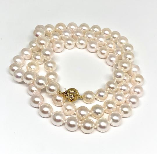 Estate Certified 3950 Ladys Akoya Pearl & Diamond 8Mm 24 Inch 14Kt Yg 10815 Image 8