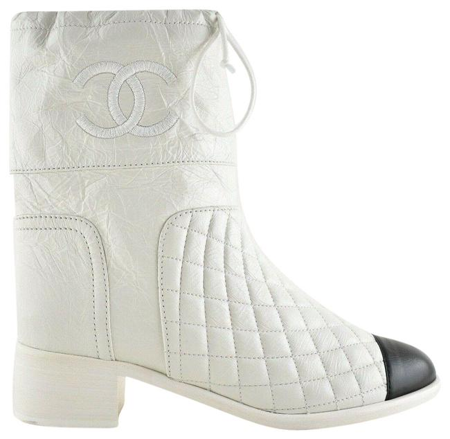 Item - White Drawstring 18b Black Quilted Crumpled Calfskin Leather Cc Short Boots/Booties Size EU 35 (Approx. US 5) Regular (M, B)