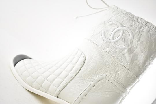 Chanel Tweed Glitter Quilted Chain white Boots Image 5
