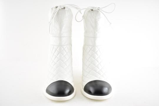 Chanel Tweed Glitter Quilted Chain white Boots Image 6