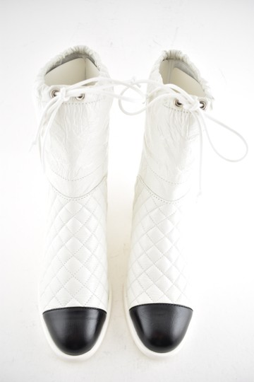 Chanel Tweed Glitter Quilted Chain white Boots Image 7