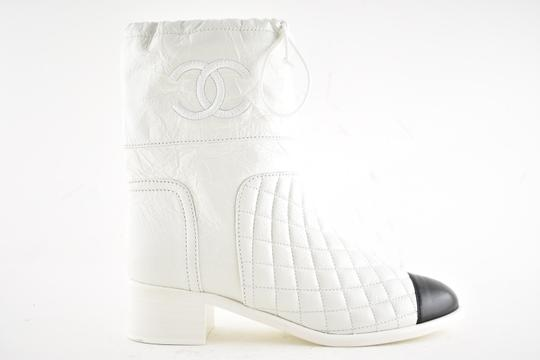 Chanel Tweed Glitter Quilted Chain white Boots Image 1