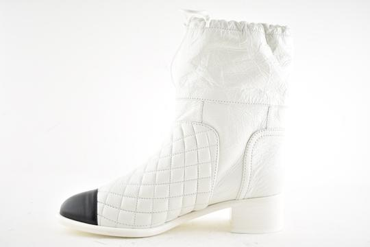 Chanel Tweed Glitter Quilted Chain white Boots Image 8