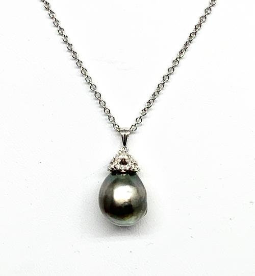 Estate Certified 1690 South Sea Pearl & Diamond 15.00Mm 18