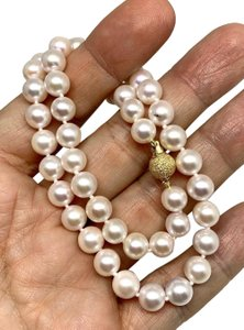 Estate Certified 3950 Ladys Akoya Pearl 8Mm 16 Inch 14Kt Yellow Gold 10813