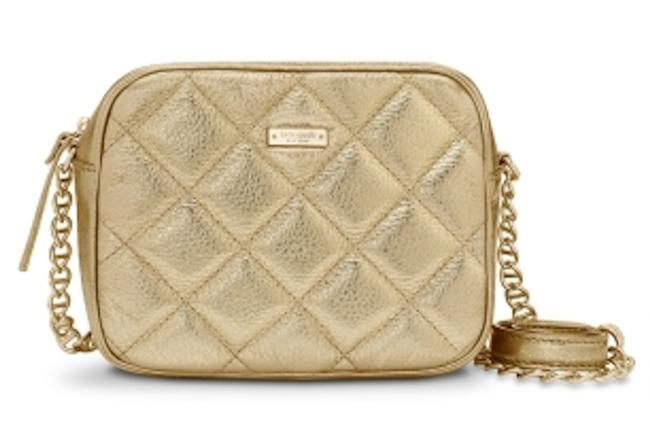 Item - Box Lauralee Coast Quilted Chain Link Square Mini Frame Metallic Gold Leather Cross Body Bag