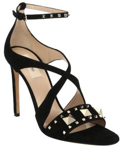 adc991a0824c7 Valentino Studded Ankle Strap Branded Insole Leather Round Toe Black Sandals