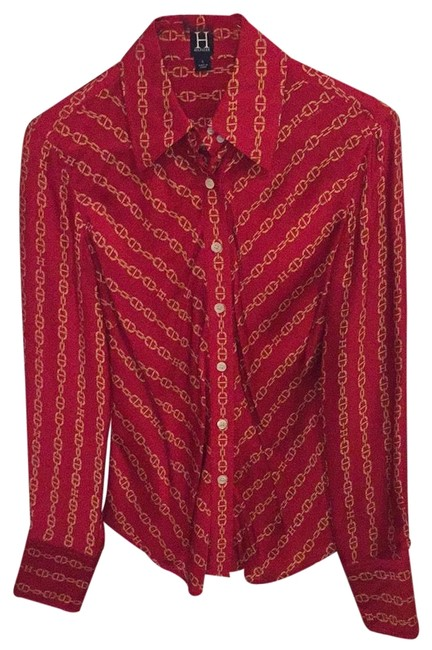 Item - Red Silk Blouse Button-down Top Size 4 (S)