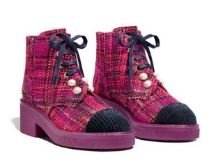 Chanel Tweed Glitter Quilted Chain Raspberry Boots