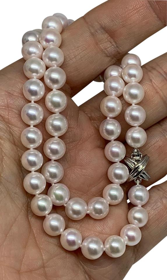 5544422c588fc White Certified 4 950 Akoya Pearl Set In 14kt Gold Clasp 17