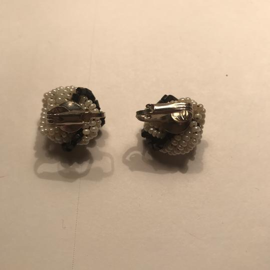 Vintage white and black vintage earrings with screw back very old Image 1