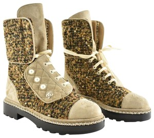 Chanel Tweed Glitter Quilted Chain beige Boots
