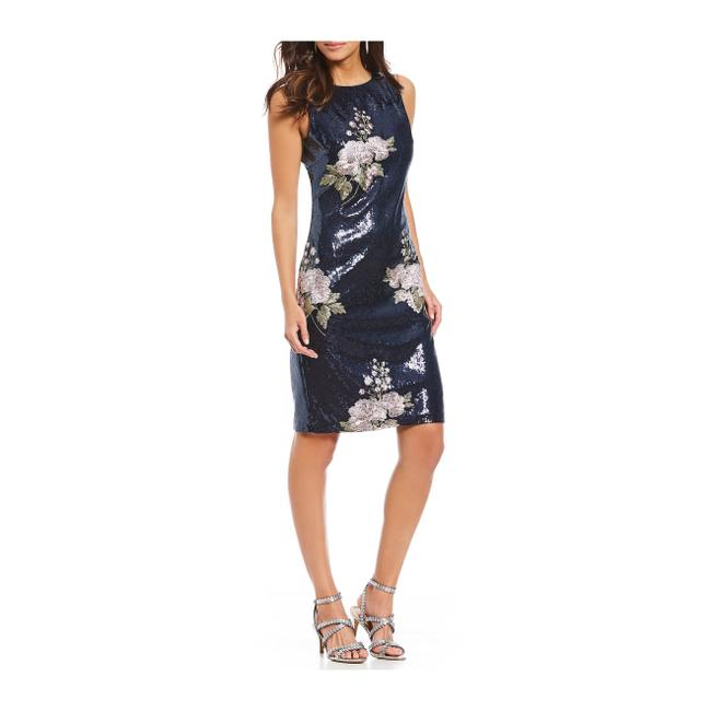 Vince Camuto Navy Sequin Floral Embroidery Sheath Mid-length Cocktail Dress Size 4 (S) Vince Camuto Navy Sequin Floral Embroidery Sheath Mid-length Cocktail Dress Size 4 (S) Image 1