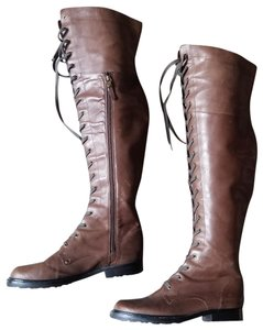 Via Spiga Free People Vintage 90s Lace Up Tall Over The Knee Flat Granny Otk Brown Boots