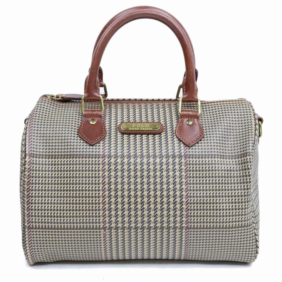Polo Ralph Lauren Herringbone Houndstooth Boston Doctors 870113 Brown  Coated Canvas Satchel 82d0c5b82e37d
