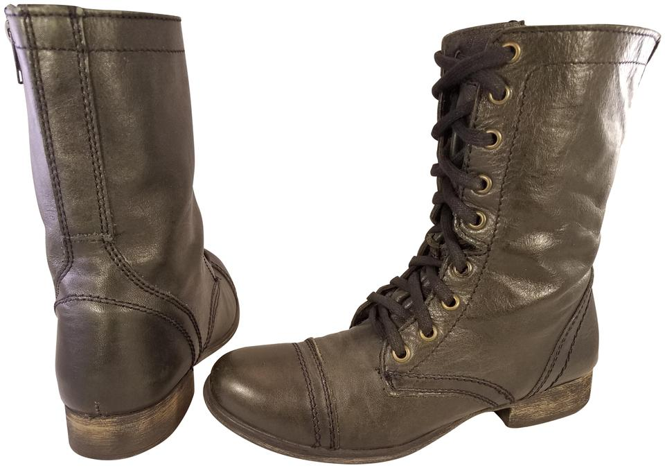 af4f7ac981e Steve Madden Black Troopa Charcoal Leather Granny Goth Trooper  Boots/Booties Size US 7 Regular (M, B)