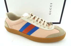 Gucci Neutral Blush Butter Leather Gg Logo G74 Web Men's Low Top Sneakers Us13/12uk Shoes