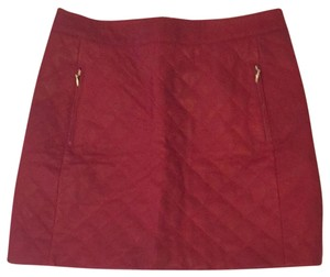 Kate Spade Leather Mini Mini Quilted Leather Skirt red