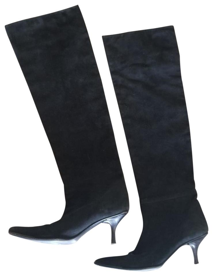 c9567eef74 Gucci Black Vintage 90s Witchy Woman Pointy Bohemian Knee 7.5m Boots/Booties
