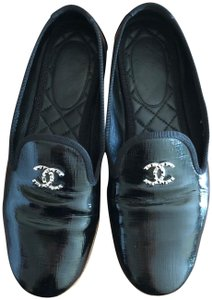 Chanel Loafers Loafers Patent Black Flats
