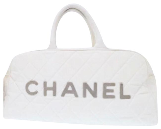 Item - Boston Bag Classic Quilted Sport Beige White Canvas Satchel