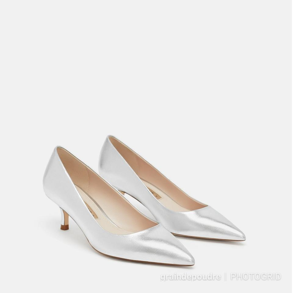 f81b160c183 Zara Silver Laminated Metallic Leather Kitten Low Heel Pumps Size US ...