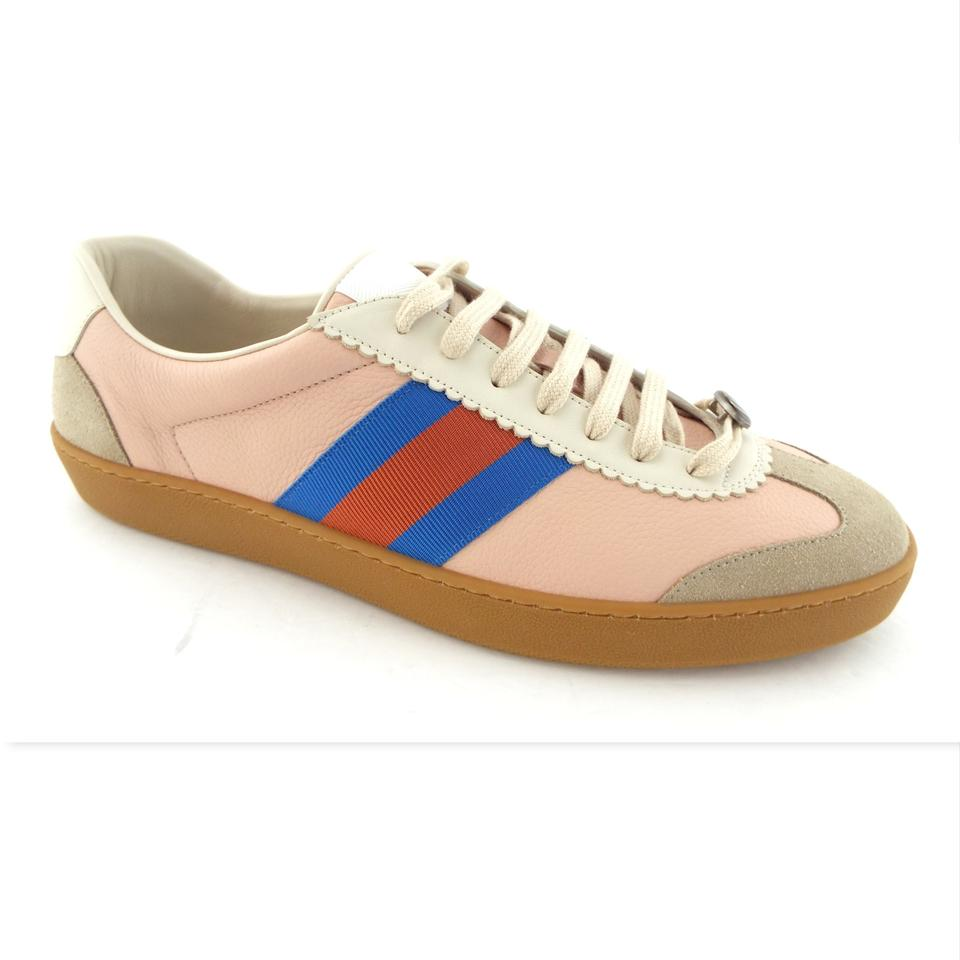 97a73c91e83 Gucci Neutral Blush Butter Leather Gg Logo G74 Web Men s Low Top Sneakers  Us12 11uk ...