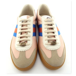 Gucci Neutral Blush Butter Leather Gg Logo G74 Web Men's Low Top Sneakers Us12/11uk Shoes