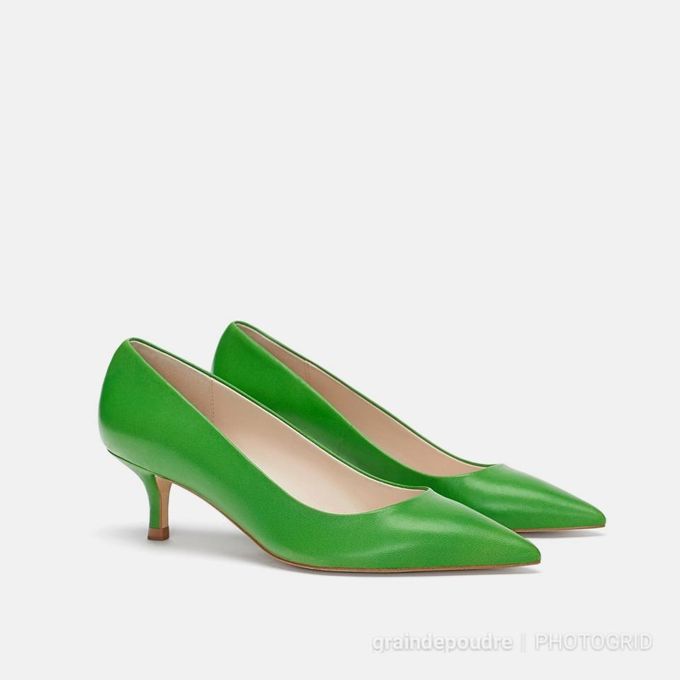 ad8a5896261 Zara Green Kelly Apple Leather Low Kitten Heel Pumps Size EU 37 ...