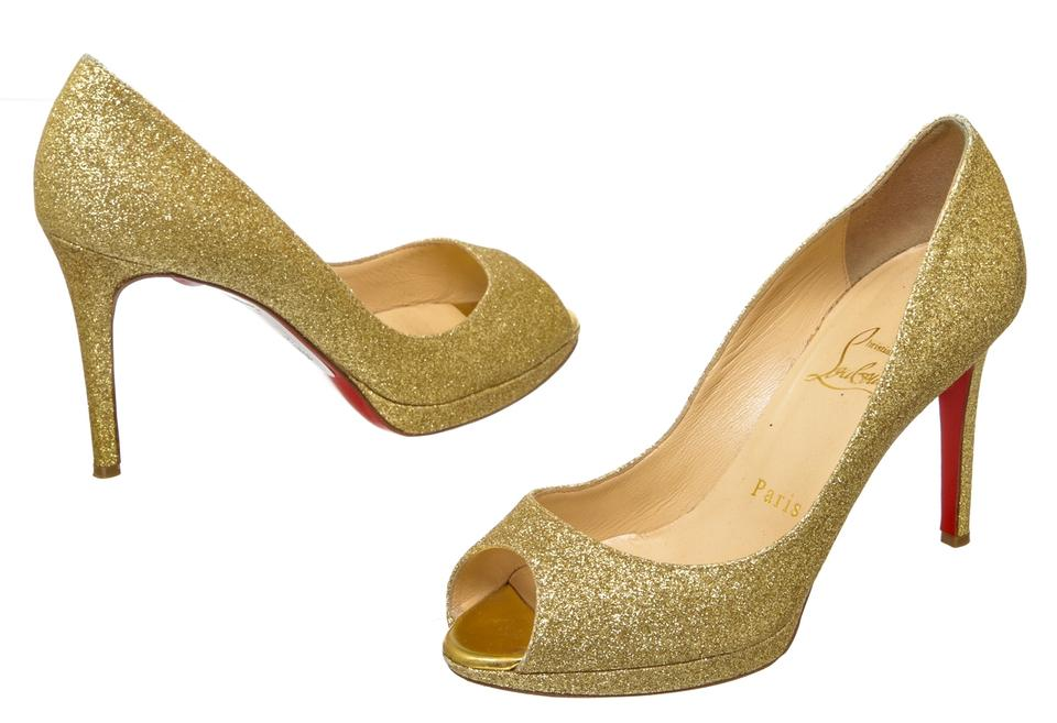 cf4add76948 Christian Louboutin Gold Glitter Peep 488179 Pumps Size EU 35.5 ...