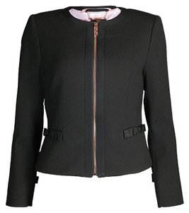 6b3d3f177743f1 Ted Baker Black Nadae Textured Cropped Bow Jacket Size 6 (S) - Tradesy