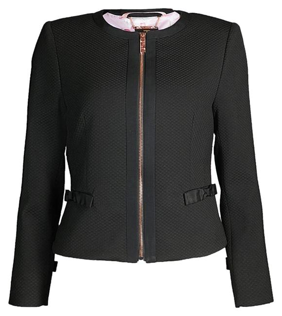 Item - Black Nadae Textured Cropped Bow Jacket Size 6 (S)