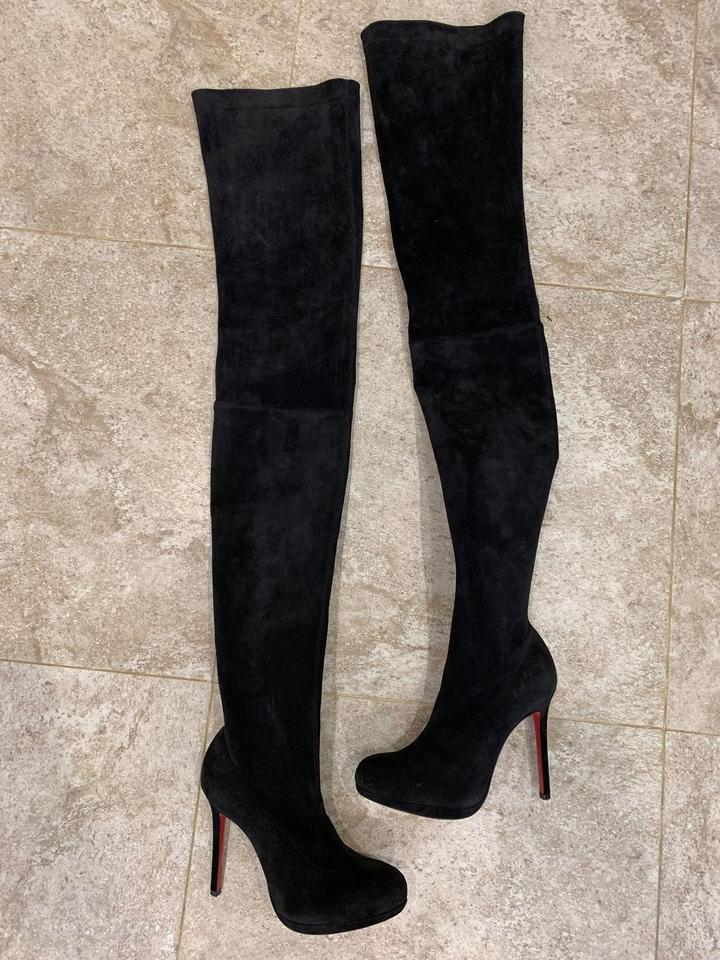 new product 3e6df 37f90 Christian Louboutin Black Louise Xi 120 Suede Stretch Thigh High Otk  Stiletto Platform Heel Boots/Booties Size EU 36 (Approx. US 6) Regular (M,  B)