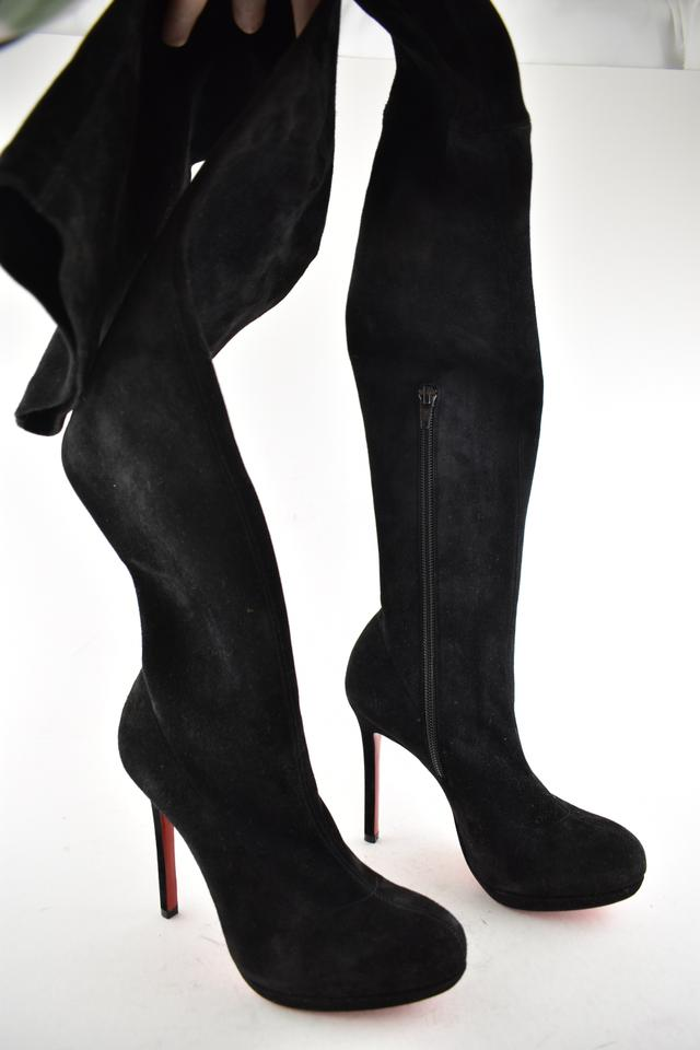 new product 25df7 12aaf Christian Louboutin Black Louise Xi 120 Suede Stretch Thigh High Otk  Stiletto Platform Heel Boots/Booties Size EU 36 (Approx. US 6) Regular (M,  B)