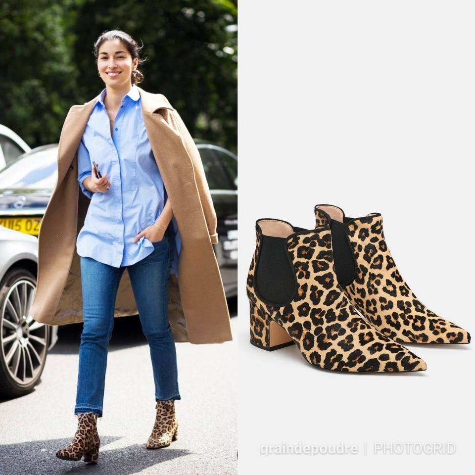 bf6eb799c5fa Zara Leopard Print Ponyhair Leather Chelsea Ankle Boots/Booties Size ...