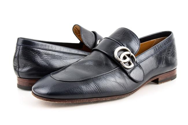 Gucci Blue Leather Loafer with Gg Shoes Gucci Blue Leather Loafer with Gg Shoes Image 1