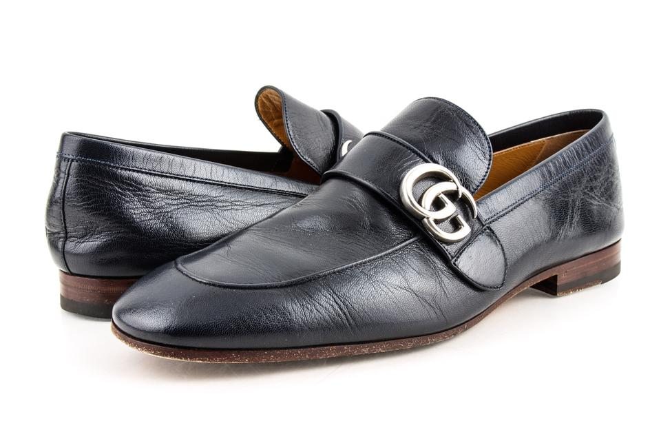 1bff626c3fc Gucci Blue Leather Loafer with Gg Shoes Image 0 ...