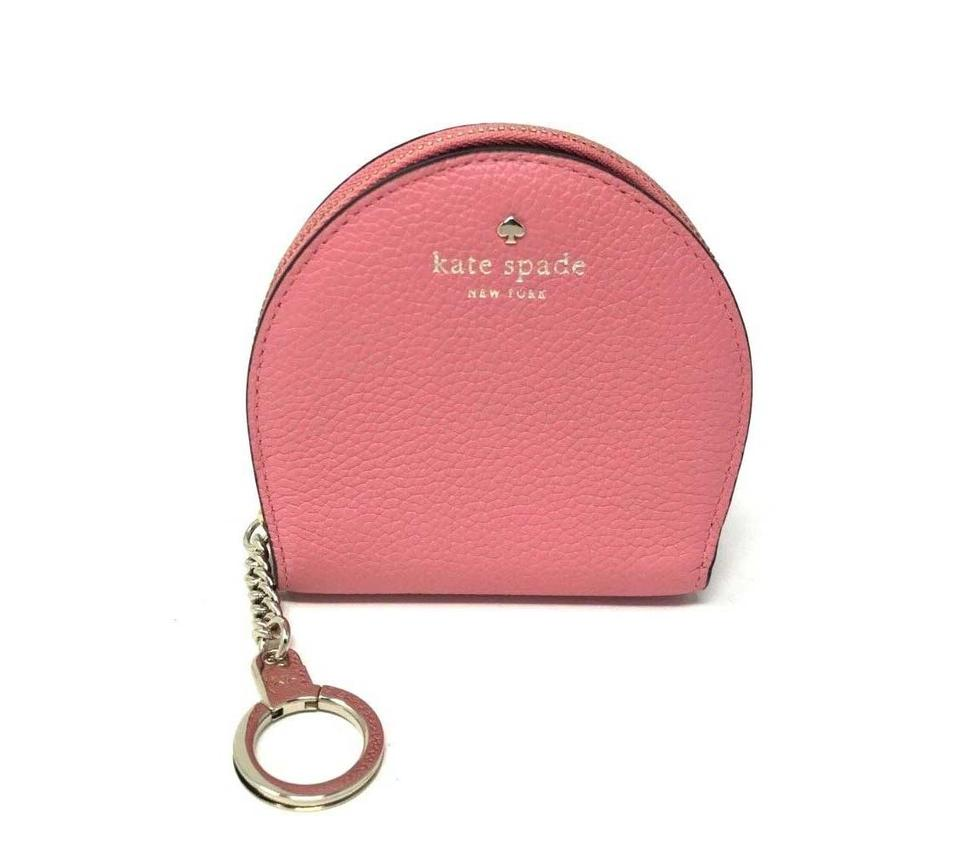 Kate Spade Crina Coral Larchmont Ave Sari Leather Coin Key Chain Wallet 44%  off retail