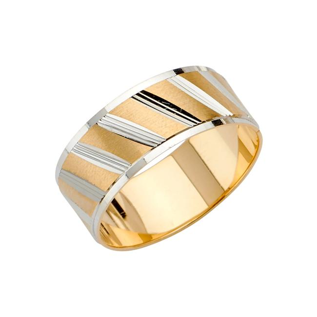 Top Gold & Diamond Jewelry Two Tone 14k Cut Tapered Wedding Band For Men - Width 8 Mm Ring Top Gold & Diamond Jewelry Two Tone 14k Cut Tapered Wedding Band For Men - Width 8 Mm Ring Image 1