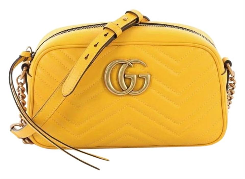 1d4bc69d7752 Gucci GG Marmont Matelasse Small Yellow Leather Shoulder Bag - Tradesy