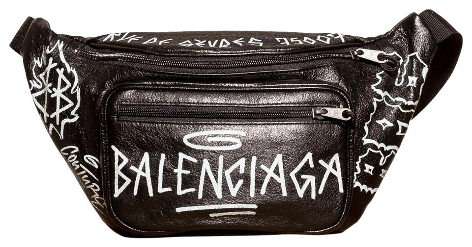 121f112710c6 Balenciaga Graffiti Explorer Belt Fanny Pack Black Leather Shoulder ...