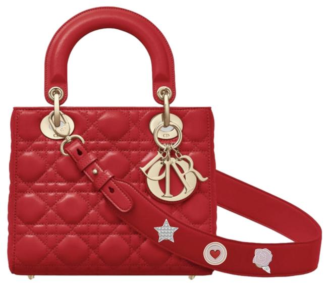 Item - My Lady Limited Edition with Lucky Badges Charms Wide Strap Cannage Red Lambskin Leather Shoulder Bag