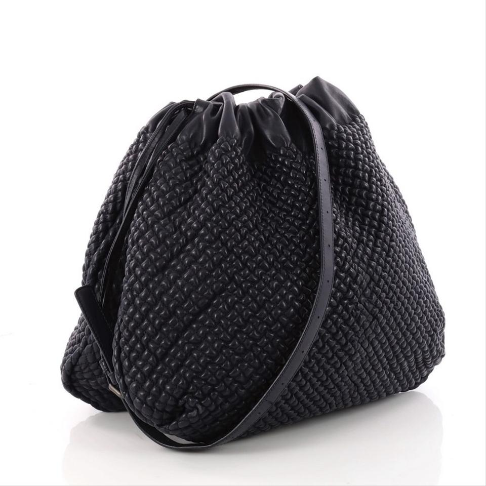 96f3efb2d289 Bottega Veneta Drawstring Quilted Medium Blue Leather Shoulder Bag ...