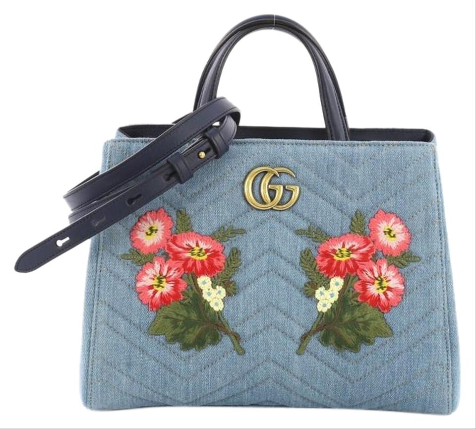 70c0b0e95d1f79 Gucci Marmont Embroidered Matelasse Small Blue Denim Tote - Tradesy