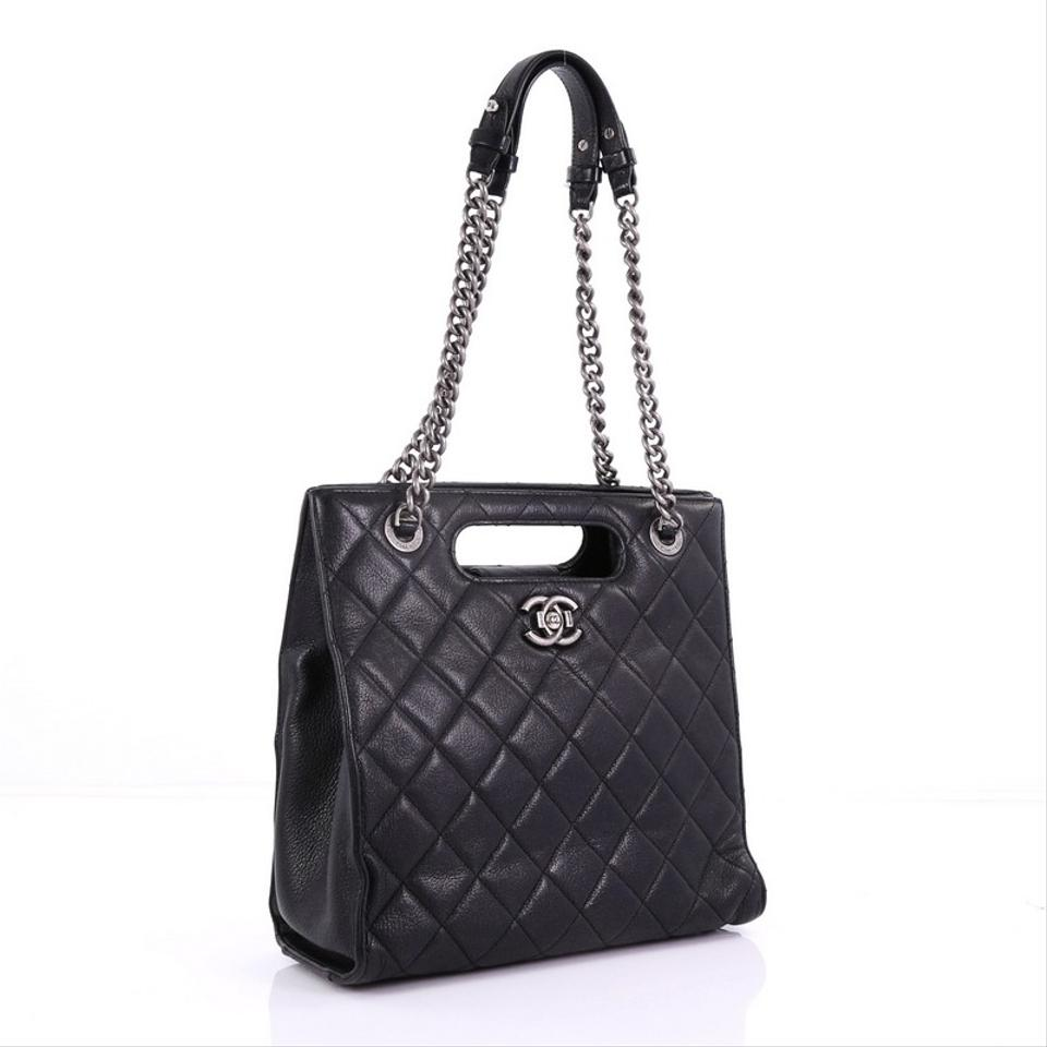 0aadce0696d275 Chanel Boy Shopper Quilted Glazed Small Black Calfskin Leather Tote ...