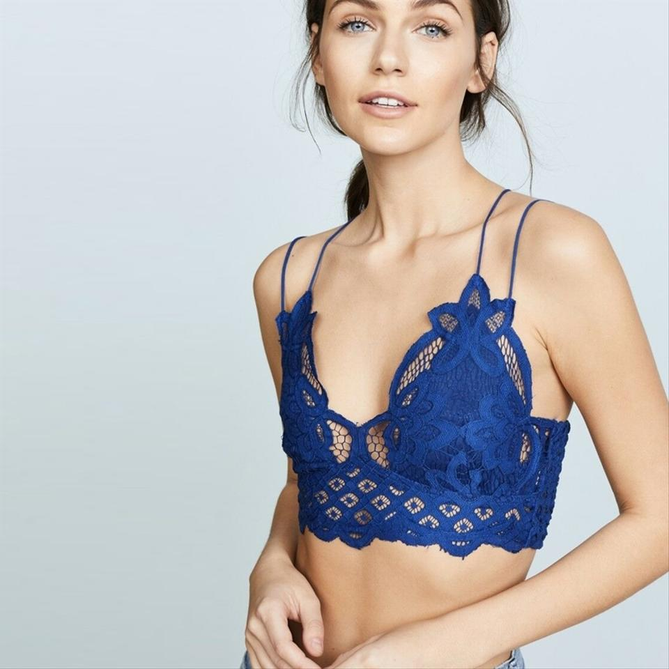 2324b9f454a Free People Blue New Fp One Adella Bralette Embroidered Lace Tank Top Cami  Size 2 (XS) - Tradesy